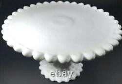 VINTAGE RARE DUNCAN & MILLER Milk Glass Old Giant Hobnail Pedestal Cake Stand