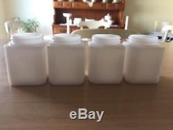 VINTAGE Tipp USA Milk Glass CHERRIES Spice Set with WHITE Rack EXCELLENT Original