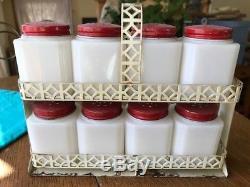 VINTAGE Tipp USA White Milk Glass CHERRIES Spice Set jars with WHITE Rack Original