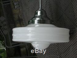VTG 1920's Art Deco Light Fixture Milk Glass MacBeth Monax MidCentury Modern