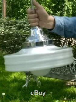 VTG Art Deco Milk Glass Ceiling Light Fixture MidCentury Art Modern Have 8+