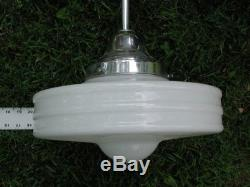 VTG Art Deco Moderne Milk Glass Light Fixture MidCentury &Chrome Fitter Have 23