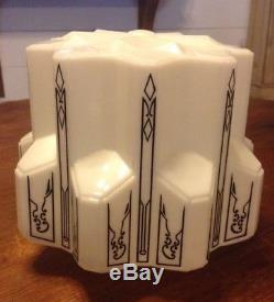 VTG Art Deco Skyscraper Milk Glass Stencil Black White Ceiling Globe Shade Light