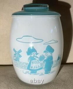VTG Bartlett Collins Turquoise Blue Milk Glass White Dutch Boy Girl Cookie Jar
