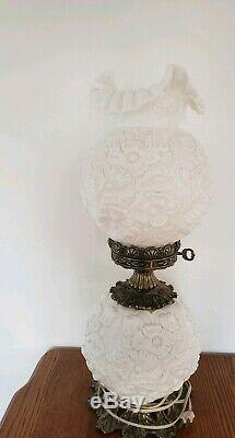 VTG FENTON White Milk Glass POPPY Double Globe GONE WITH THE WIND Electric Lamp