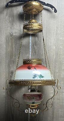 VTG Hanging Oil Lamp White Light Flame Company With Hand Painted Milk Glass Shade