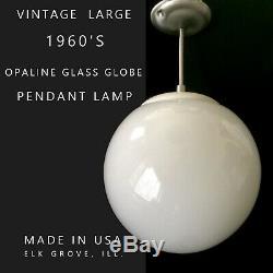 VTG MCM 12 WHITE MILK GLASS GLOBE ORB HANGING CEILING Fixture Light Lamp on ROD