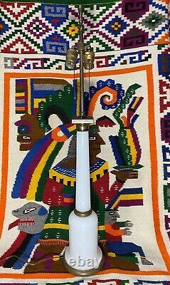 VTG MCM White Milk Glass Column Dual Socket Table Lamp 35 Tall Paul Hanson