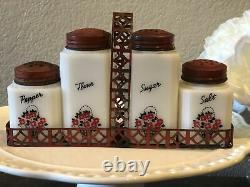 VTG McGee/Tipp City Milk Glass Range Shaker Set/Sugar. Flour. Salt. Pepper