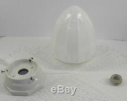 VTG Milk Glass ART DECO Pendant Ceiling Lamp Fixture 4Fitter CERAMIC LAMPHOLDER