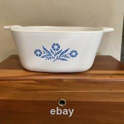 VTG P-43-B Corning Ware Cornflower Blue Casserole Dish 22 oz No Lid Great Condit