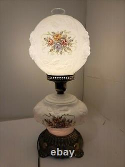 VTG Phoenix Gone With the Wind Hurricane Lamp Wild Rose Milk Glass 3-Way