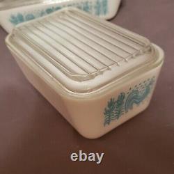 VTG Pyrex Butterprint Rooster 8pc Refrigerator Dish Set White Turquoise Blue