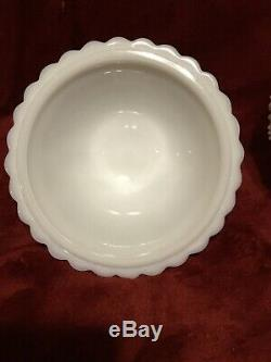 Very Rare Imperial Milk Glass #710 Beaded Block Pear Shaped Covered Candy Dish