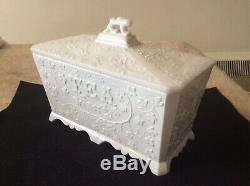Very Rare Victorian Pressed White Opaline /Milk Glass Tea Caddy c1880 -Sowerby