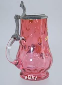 Victorian CRANBERRY & ENAMEL MINIATURE STEIN withPEWTER & MILK GLASS LID ANTIQUE