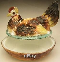 Victorian Glass by Challinor, Taylor & Co. HP Milk Glass Dominecker Hen on Nest