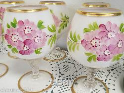 Victorian Milk Glass Hand Painted Floral Large Ewer Decanter & 6 Glasses Gari