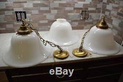 Vintage 16 Large Milk Glass 3-Light Kitchen Island Pendant Lamps