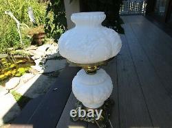 Vintage 18 Fenton Glass Gloss White Poppy Gwtw Lamp 3 Way Lighting