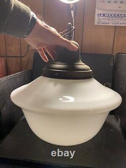 Vintage 1940 milk glass hanging pendant light for Home Decor Industrial Art Deco