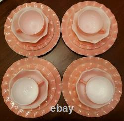 Vintage 1950 Hazel Atlas Pink Ripple Crinoline tableware NEW No Box 20 pc set