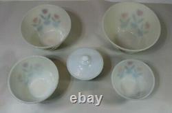 Vintage 1950'S Fire King Milk Glass Tulip Nesting Bowls Set Of 5