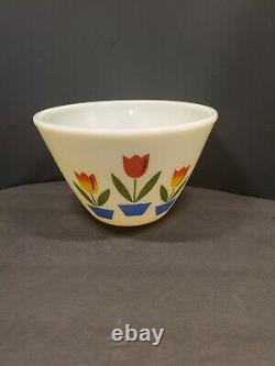 Vintage 1950's Fire King Oven Ware Nesting Tulip White Mixing Bowls Set of 3