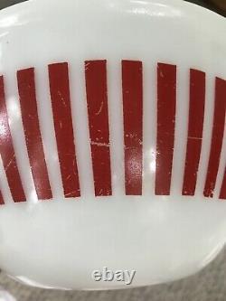Vintage 1950's HAZEL ATLAS Red Candy Stripe 4-Pce Mixing Bowl Set Milk Glass HTF