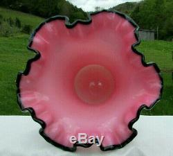 Vintage 1952 FENTON Black Rose Crest Ruffled Vase 6.75H MINTRare
