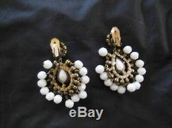 Vintage 1960s KJL Kenneth Jay Lane White Milk Glass Chandelier Clip On Earrings