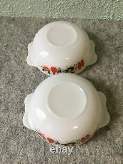 Vintage 1960s Pyrex JAJ England Fowl Play Chicken Tab Handle Milk Glass Bowls
