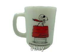 Vintage 1965 Fire King Anchor Hocking Mug CUP Peanuts Snoopy CURSE YOU RED BARON