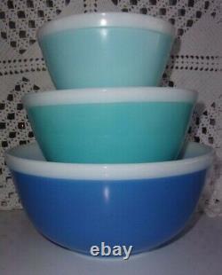 Vintage 1967 Pyrex blue Americana white band mixing bowls 401 402 403 HTF EUC