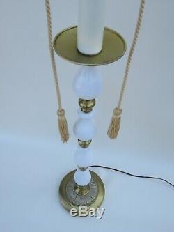 Vintage 2 Light Floor Lamp 52 1/2 Tall Shabby Chic White Milk Glass