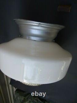 Vintage AGE Large Art Deco Light Milk Shade w Clear Glass Diffuser & Gallery 30s
