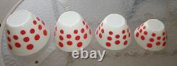 Vintage Anchor-Hocking Fire-King nested mixing 4 bowls set red polka dot fine