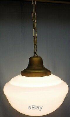 Vintage Antique Hanging Pendant Ceiling White Milk Glass School House Light