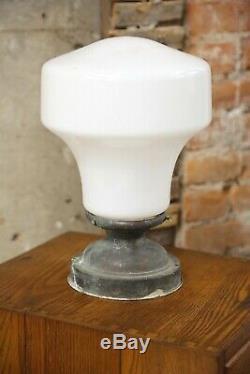 Vintage Antique Old School house Pendant Light Ceiling Fixture Milk Glass Globe