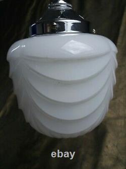 Vintage Art Deco C-1920s Schoolhouse Chrome & Opaline Milk Glass Pendant Light