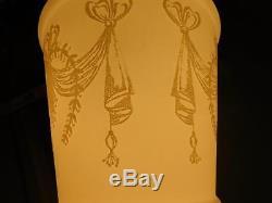 Vintage Art Deco Foyer Hall Milk Glass Hanging Pendant Light Fixture Swag