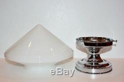 Vintage Art Deco Milk Glass Globe Ceiling Light with Chrome Plated Base Medium