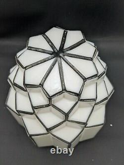 Vintage Art Deco Skyscraper Milk Glass Black White Globe Shade