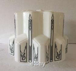Vintage Art Deco Skyscraper Milk Glass Stencil Black White Ceiling Globe Shade