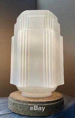 Vintage Art Deco Skyscraper White Milk Glass Globe Fixture Light Lamp 16.5