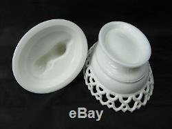 Vintage Atterbury White Milk Glass Ribbed Lion on Lacy Base Covered Animal Dish