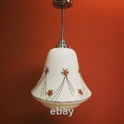 Vintage Bauhaus floral opaline opal milk glass pendant ceiling light flower