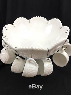 Vintage Buzz Star Westmoreland Milk Glass Punch Bowl Set with 13 Cups
