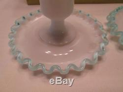 Vintage Candle stick holder set Fenton Blue Crest rim edge milk Glass