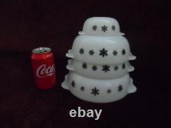 Vintage Crown JAJ Gaiety Pyrex set of 4 mixing bowls (no lids) Black snowflakes